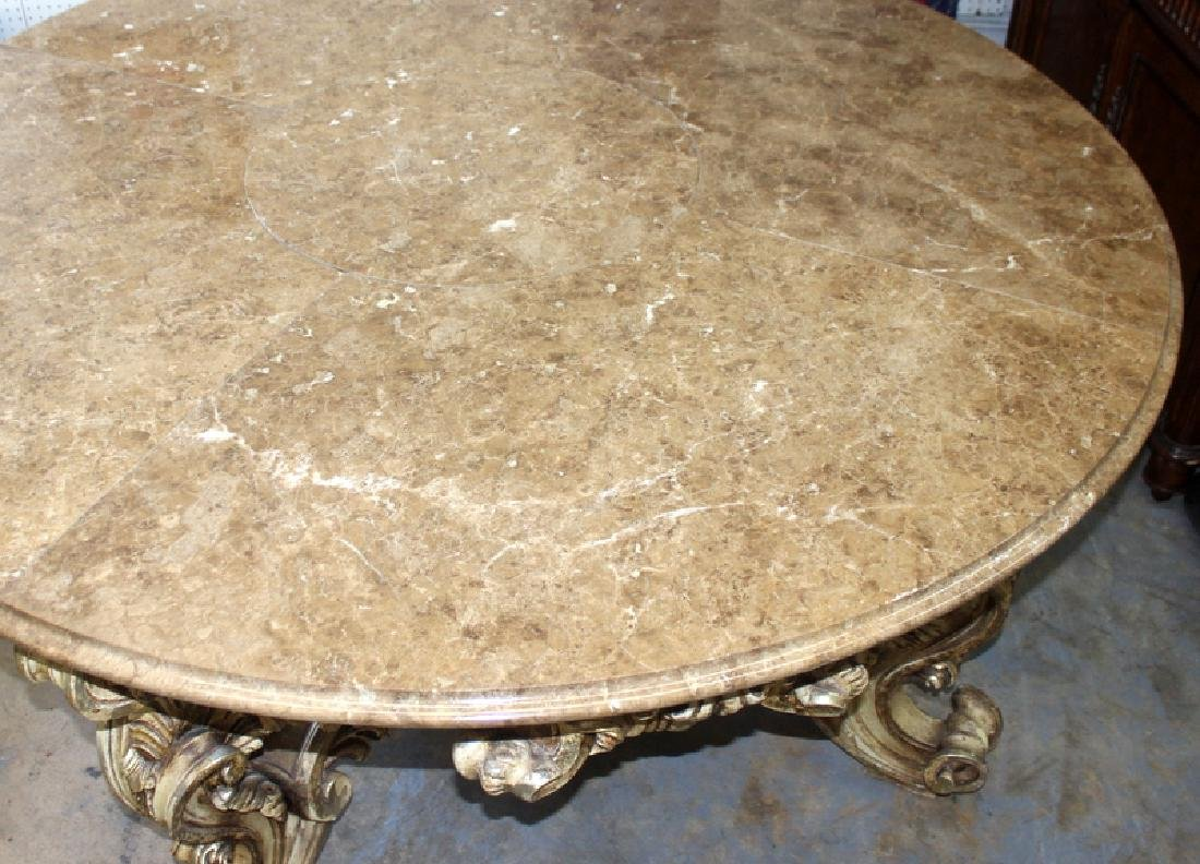 Italian Louis XV Style Marble Inset Table - 2