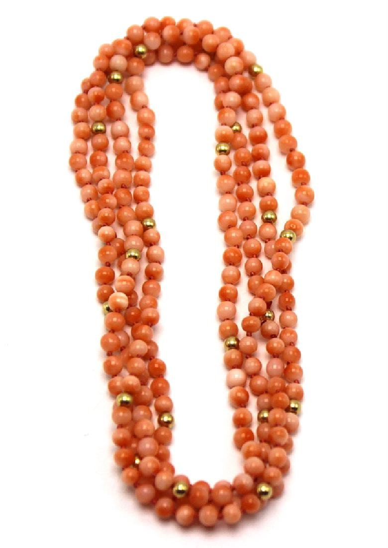 Pair of Chinese Coral & 14Kt. YG Beads