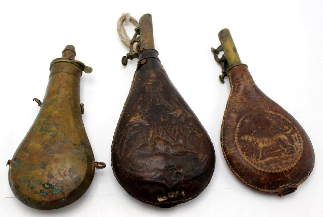 3 Antique Gun Powder Horns