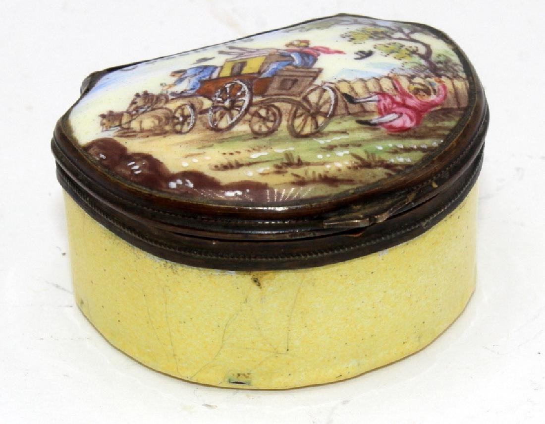 Antique French Enamel Pill Box - 2