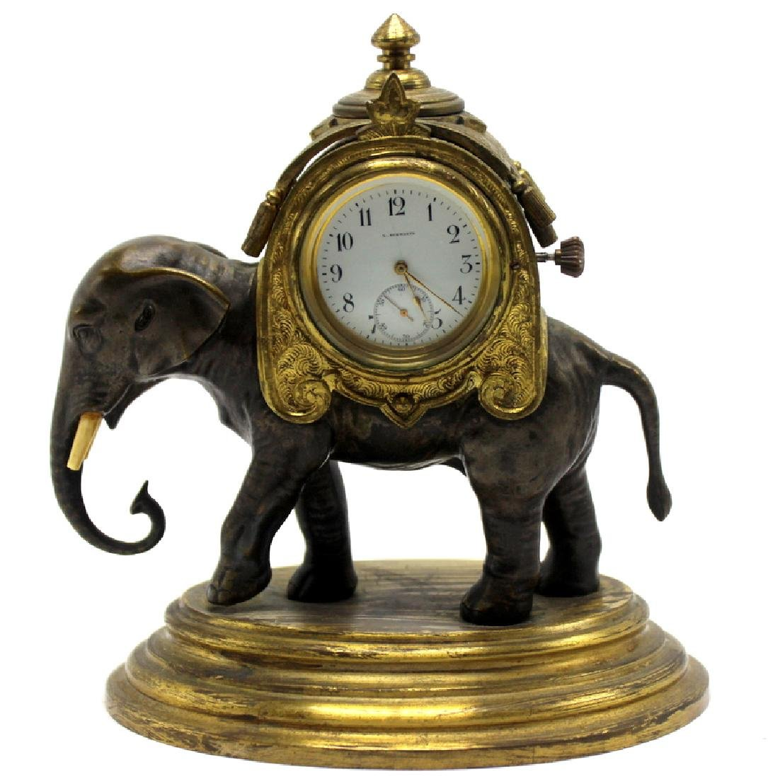 19th Century French Bronze Figural Elephant Clock