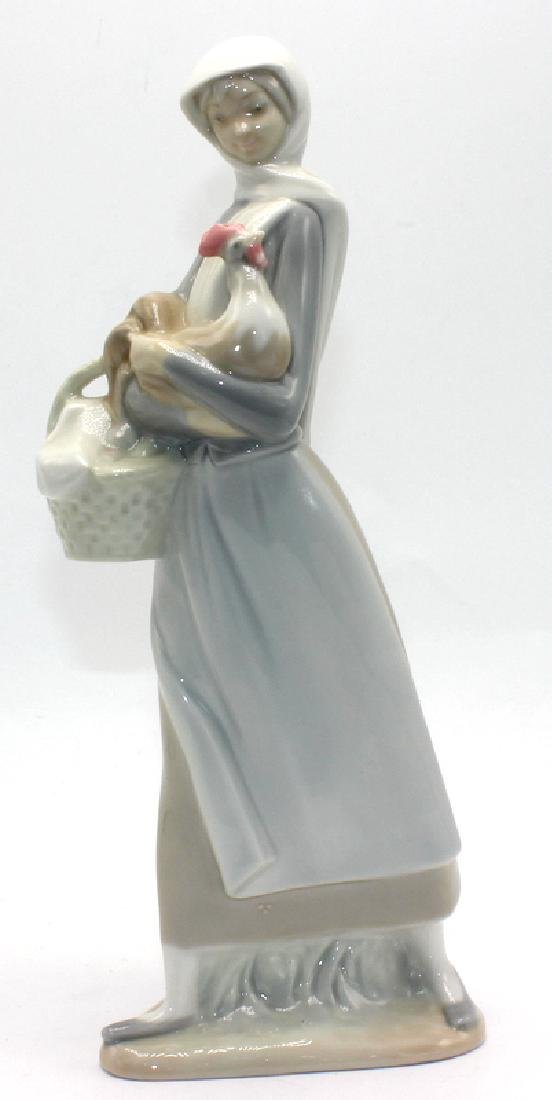 """Lladro Figurine #4591 """"Girl with Basket and Cockerel"""