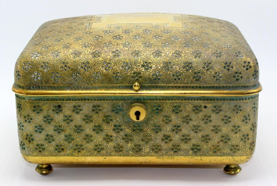 Rare Antique Tiffany & Co. Bronze Mounted Jewelry Box