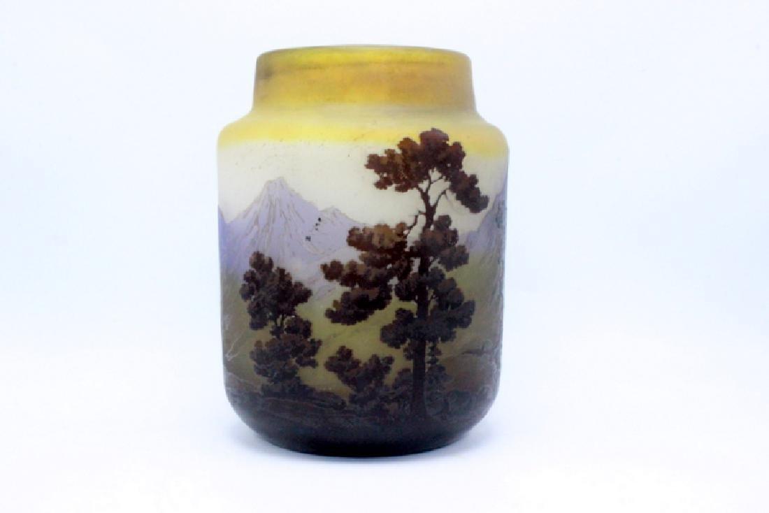 Rare Antique Galle Landscape Vase
