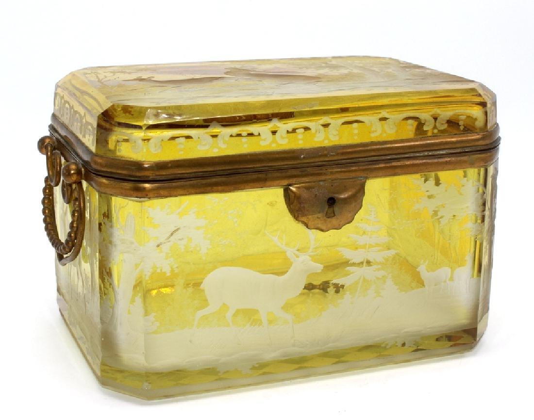 Rare Moser Ethel Amber & Bronze Box