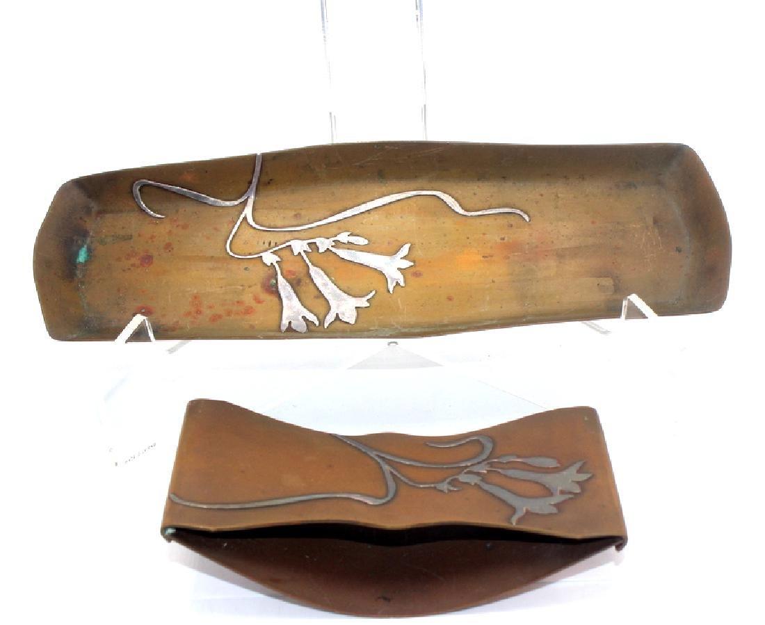 Heintz Sterling on Bronze Blotter & Pin Tray