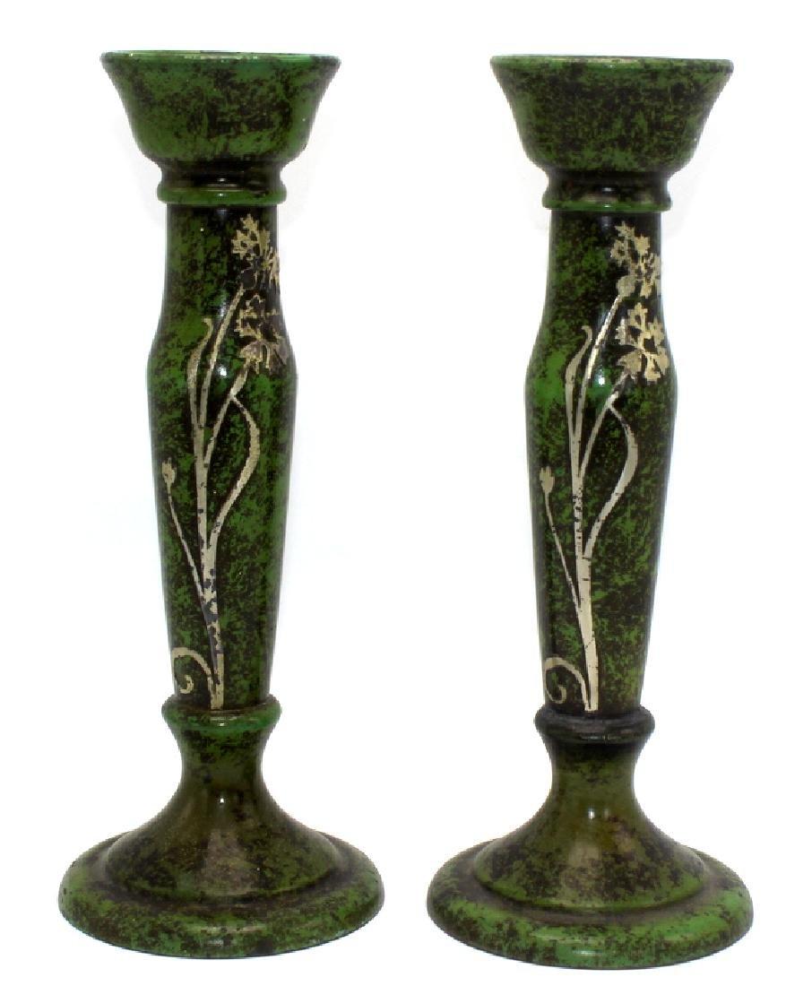 Pair of Heintz Sterling on Bronze Candlesticks