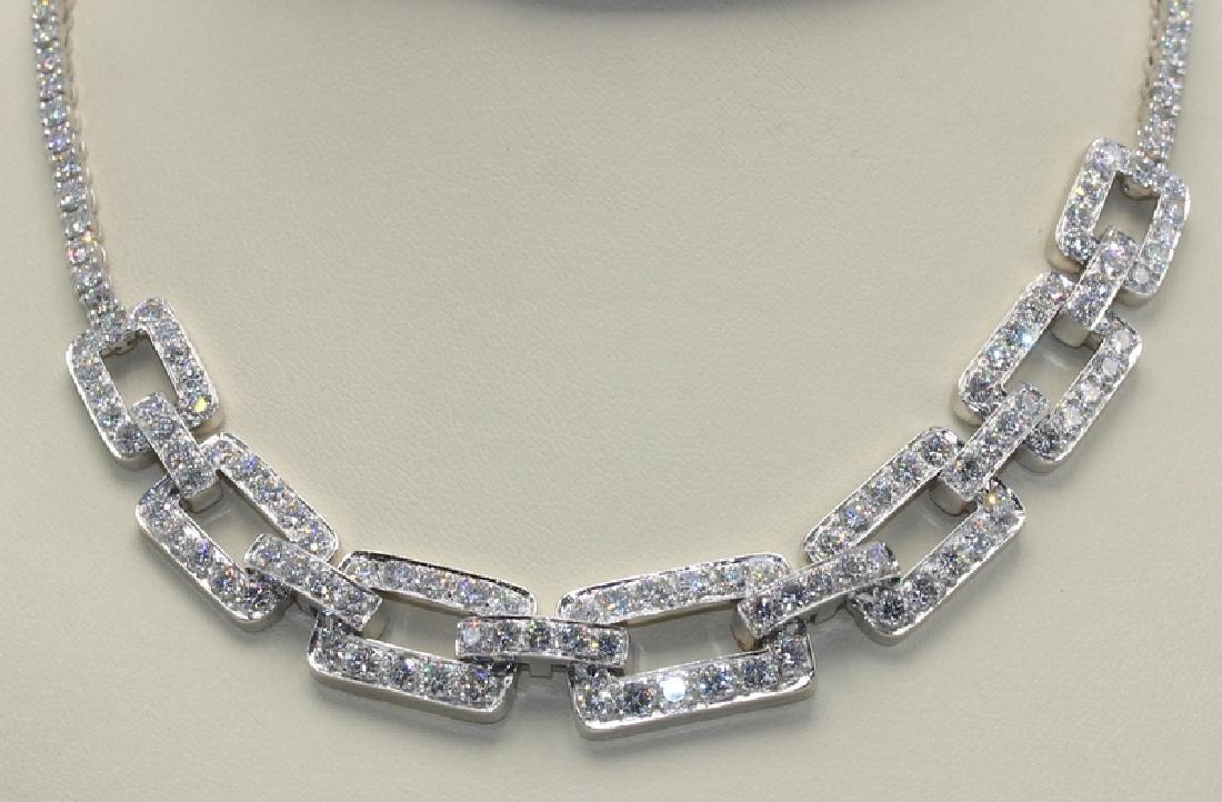 Modern Platinum and Diamond (Gem Quality) Necklace