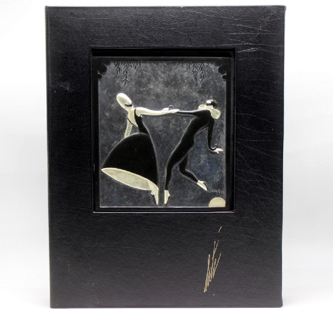 """Erte LE """"Pas de Duex"""" Bronze Bas Relief"""