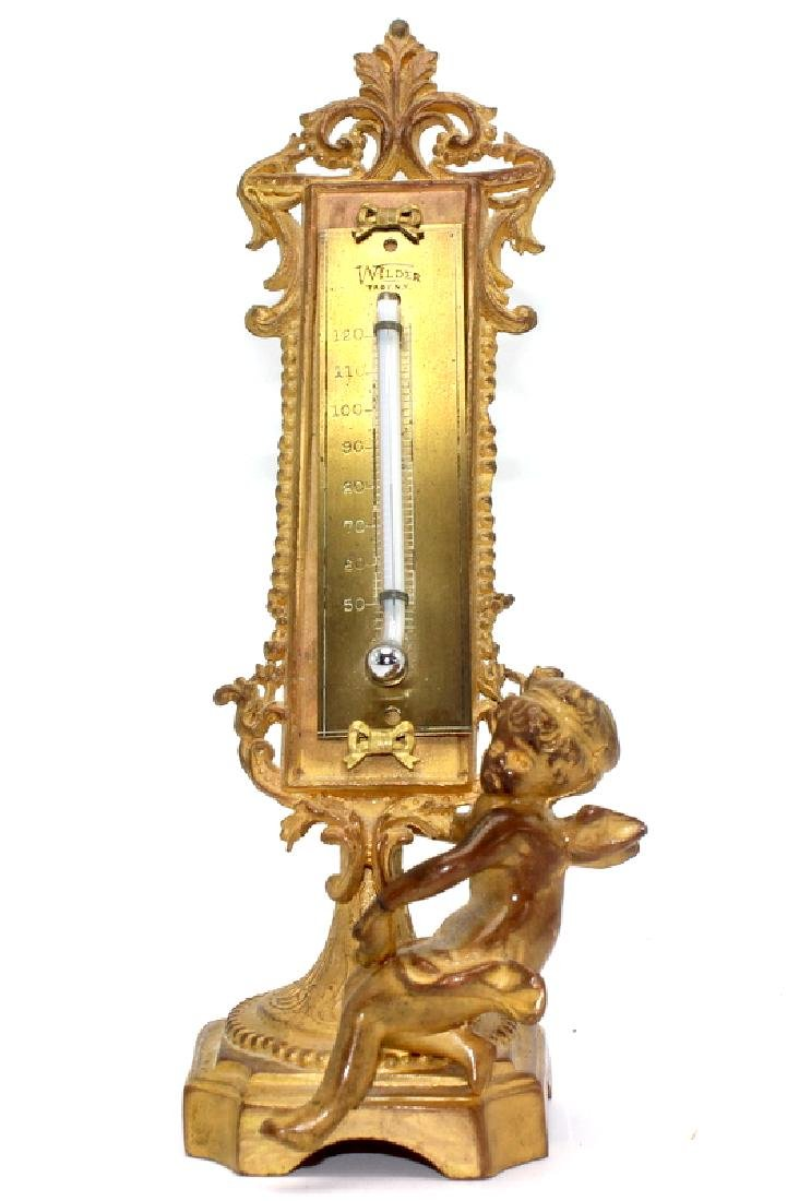 Antique French Dore Bronze Barometer