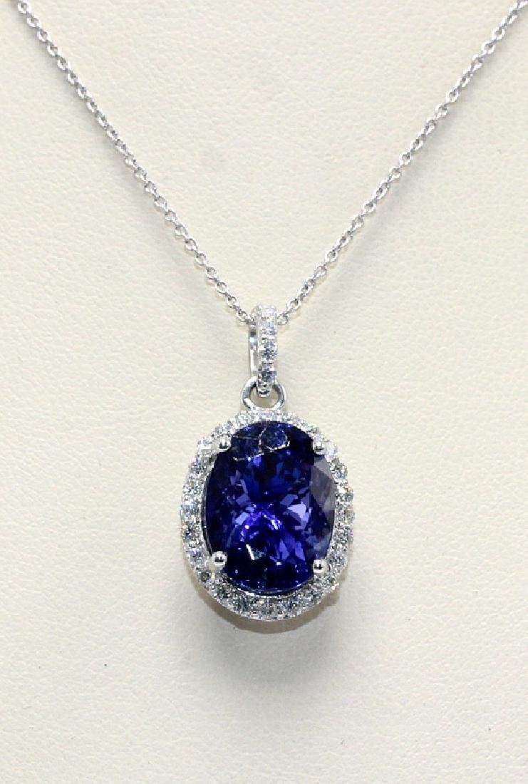 Platinum, 0.39ct. Diamond & 6.53ct. Tanzanite Necklace