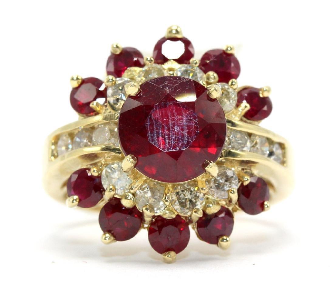 14Kt YG, 1.12ct. Diamond & 5.93ct. Ruby Ring
