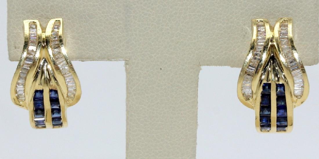Contemporary Yellow Gold, Diamond & Sapphire Earrings