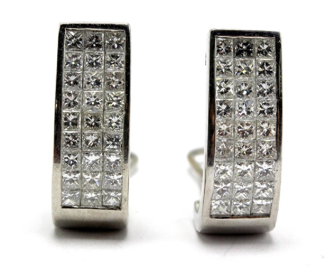 Contemporary Platinum Invisibly Set Diamond Earrings