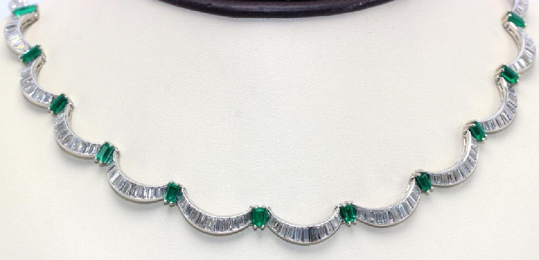 1950's 18K White Gold Emerald and Diamond Necklace
