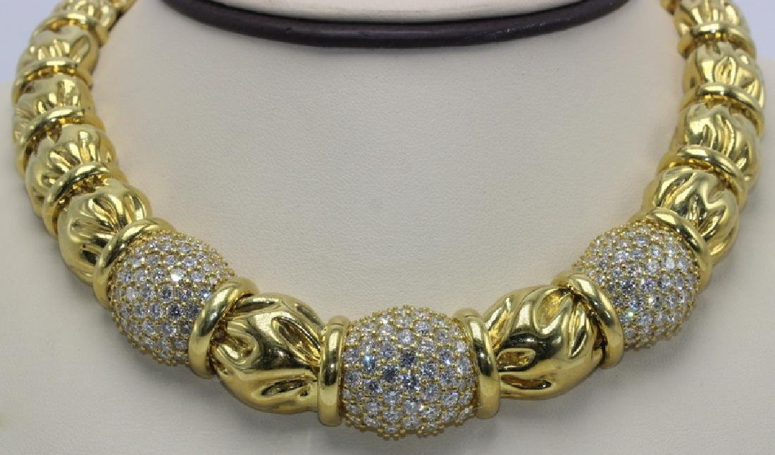 Contemporary Yellow Gold and Diamond Necklace