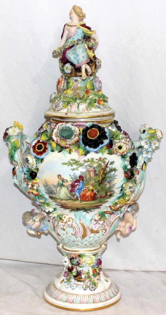 Antique German Schierholz Porcelain Covered Vase