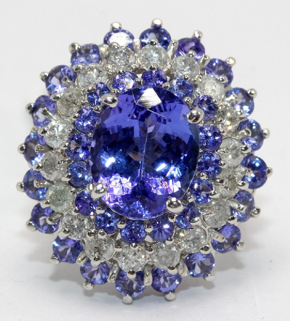 14Kt WG, 1.28ct. Diamond & 8.26ct. Tanzanite Ring