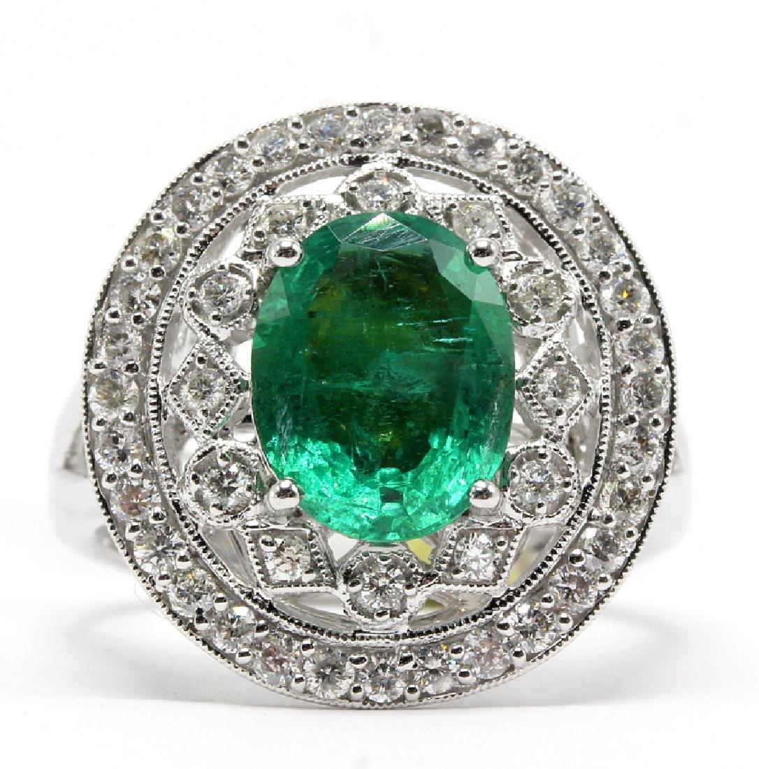 18Kt WG, 0.78ct. Diamond & 2.32ct. Emerald Ring