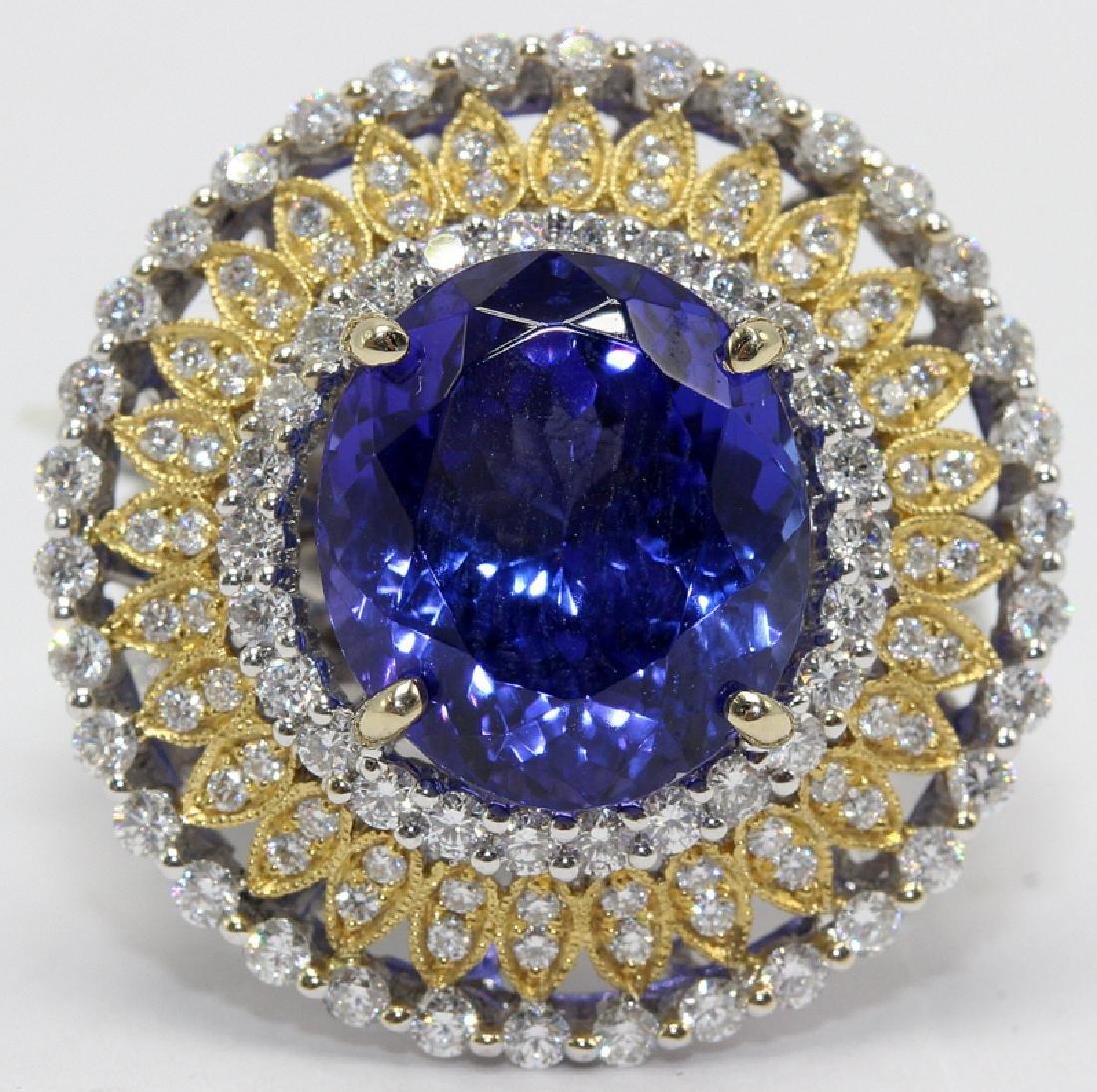 18Kt WG, 2.01ct. Diamond & 9.43ct. Tanzanite Ring
