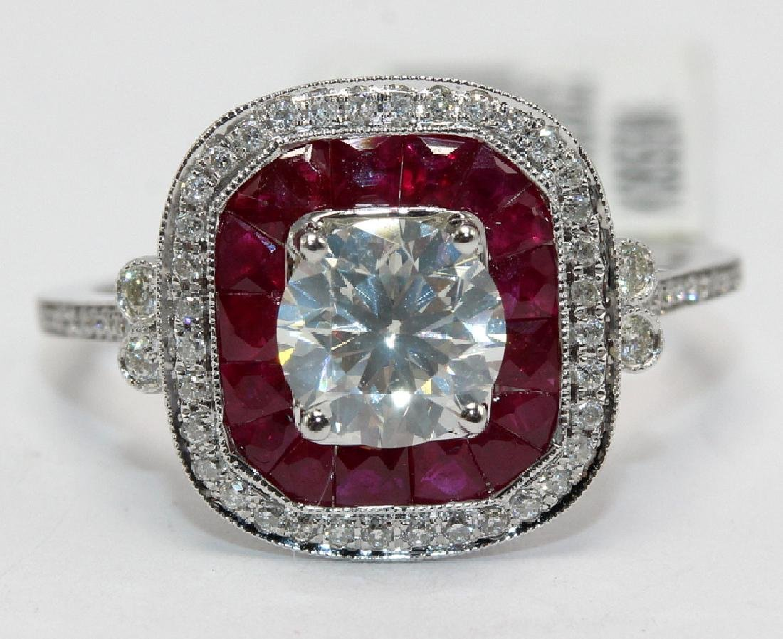 18Kt WG, 1.21ct. Diamond & 1.26ct. Ruby Ring