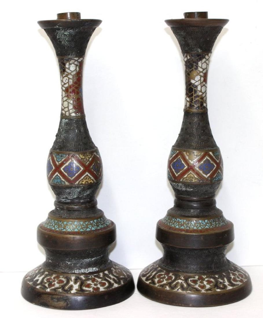 Pair of Antique Japanese Cloisonne Bronze Candlesticks