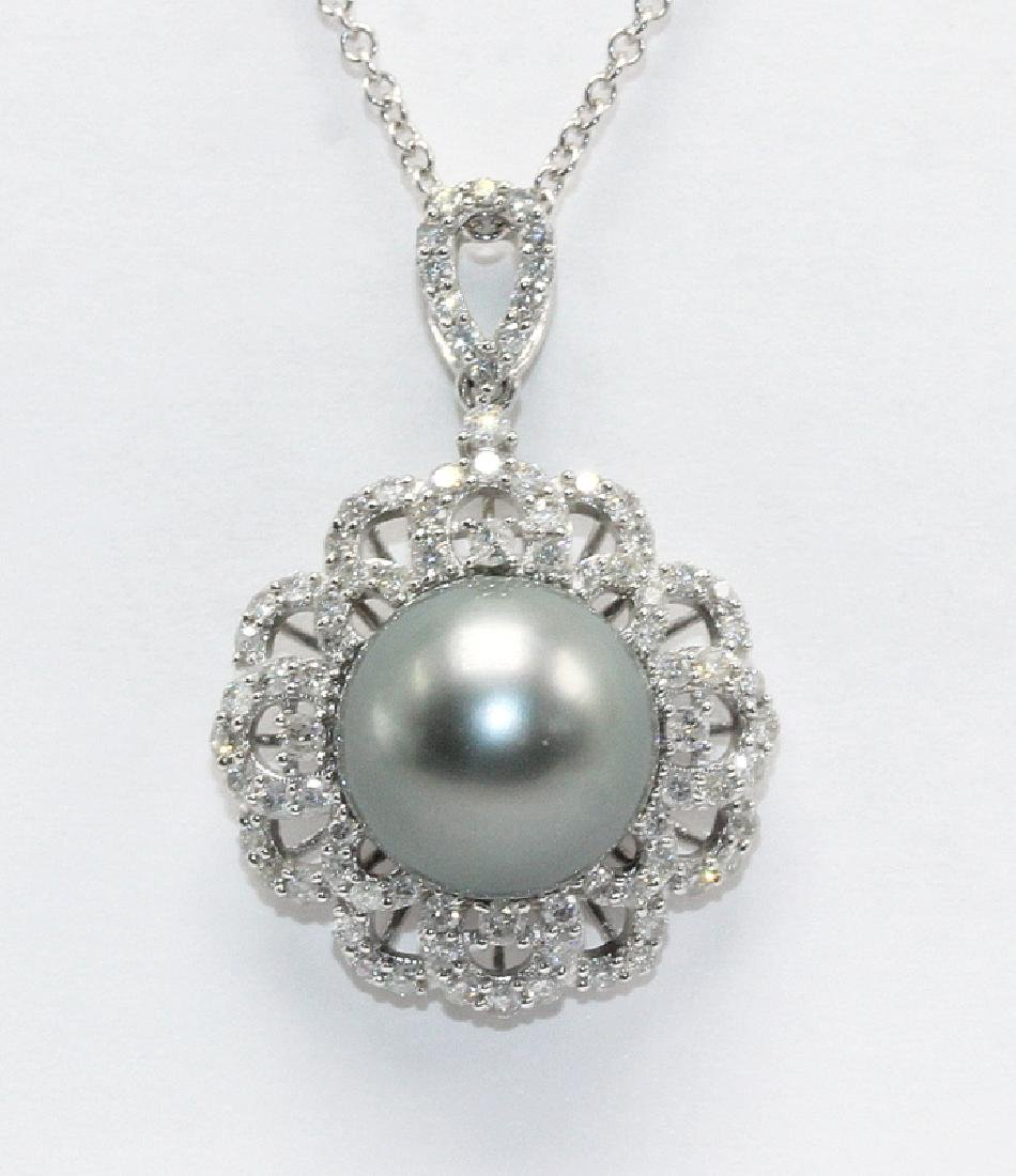 18Kt WG, 0.88ct. Diamond & South Sea Pearl Necklace
