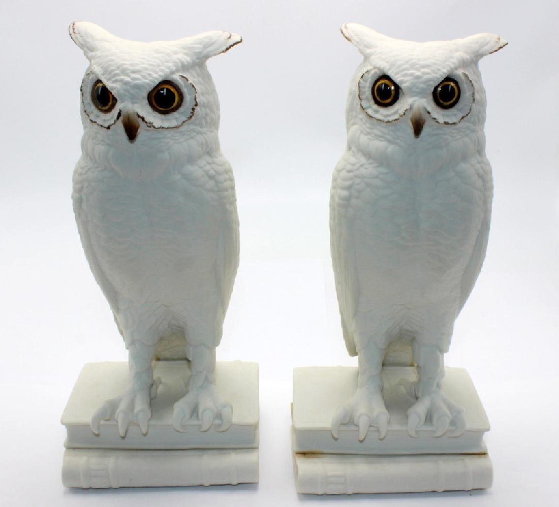 Boehm Owl Bisque Ceramic Bookends