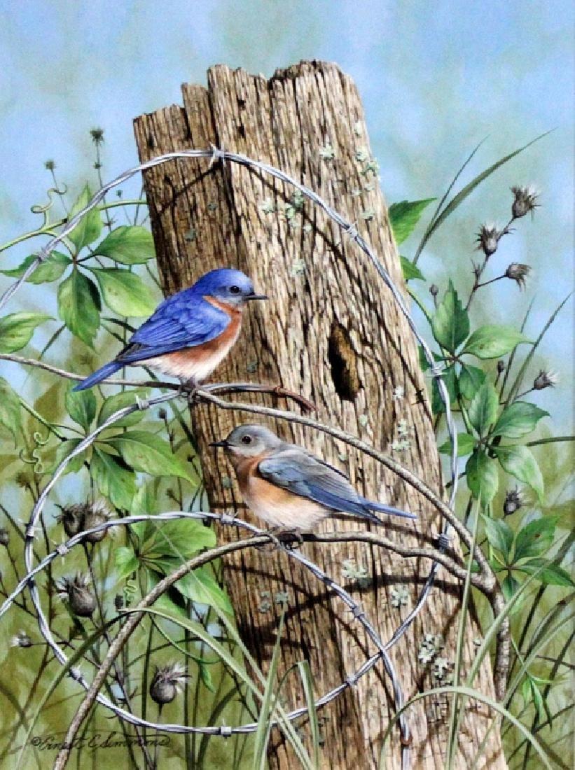"""Enest C. Simmons Goauche """"Blue Birds"""""""
