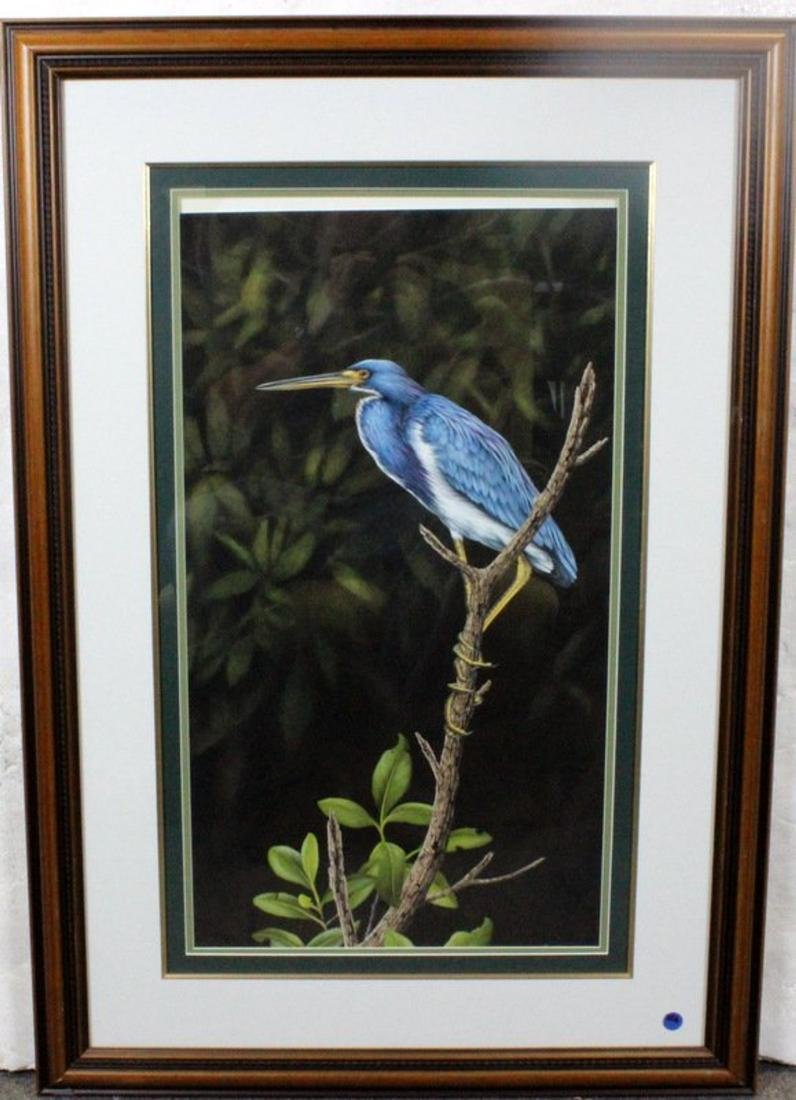 "Ernest C. Simmons Oil on Board ""Blue Heron"""