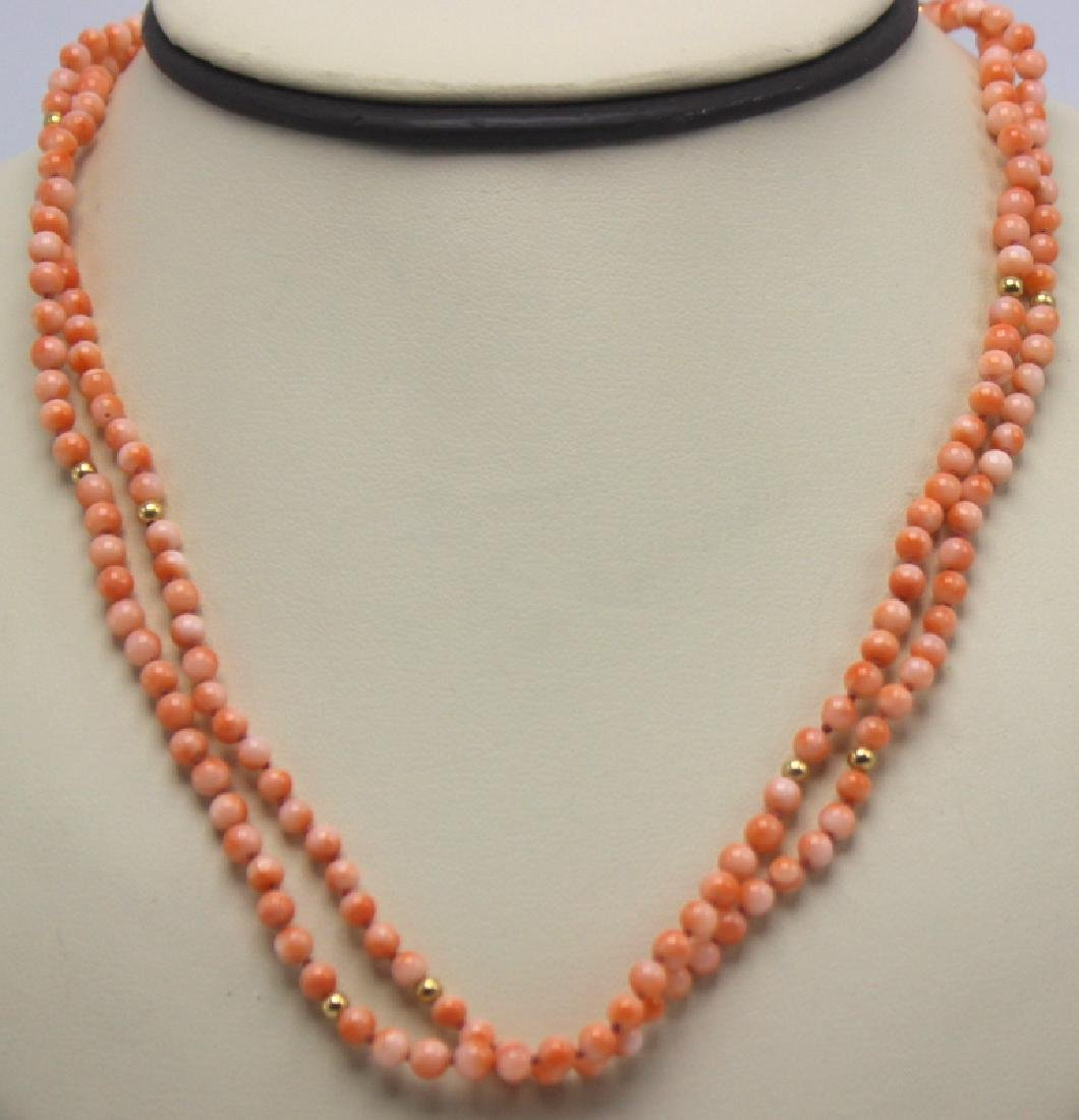 Angel Skin Coral & Gold Rondelle Beaded Necklace