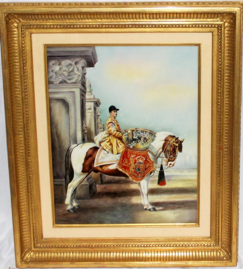 "Boehm Framed ""Conquisador on Horse"" Handpainted Plaque - 2"