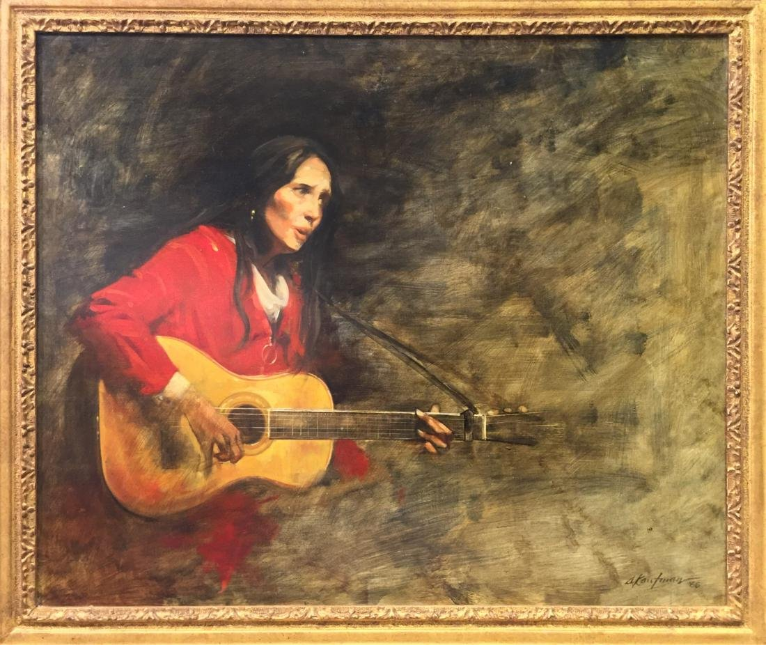 "Stuart Kaufman (1926-2008) ""Joan Baez"" Oil on Canvas"