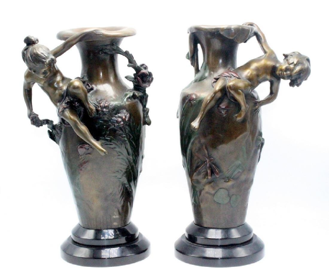 Pair of Auguste Moreau Bronze on Fitted Marble Base