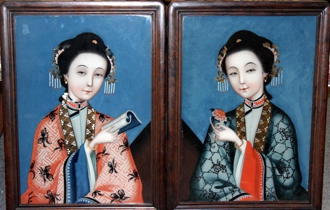 Pair of Chinese Reversed Painting on Glass