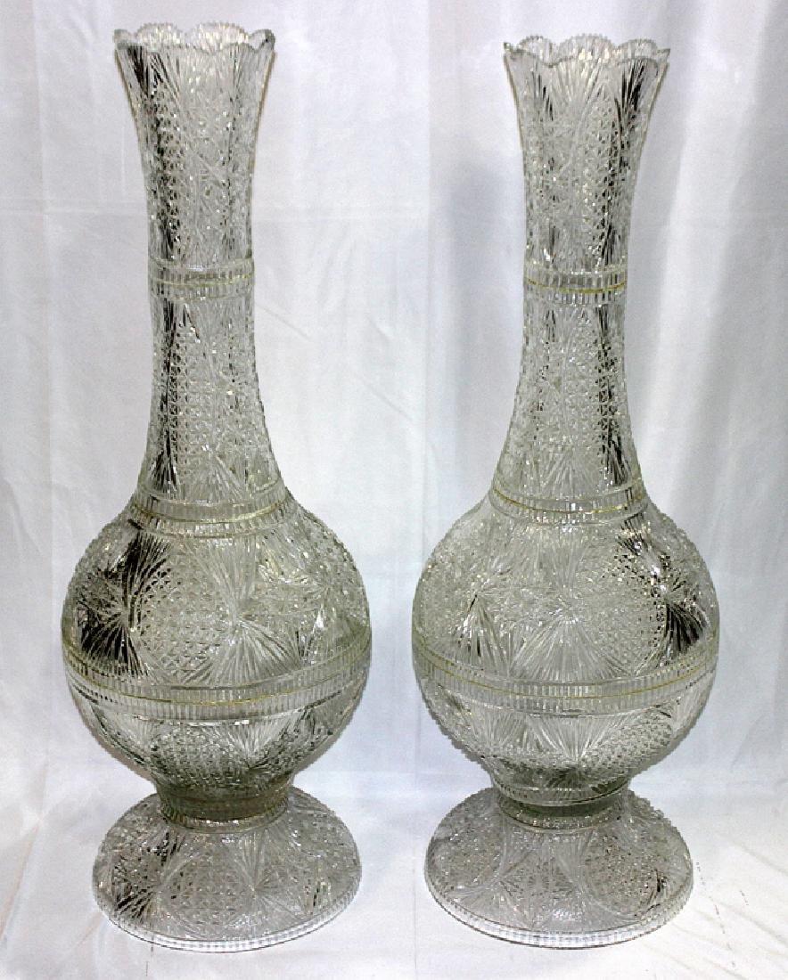 Pair of Cut Crystal Palace Size Vases