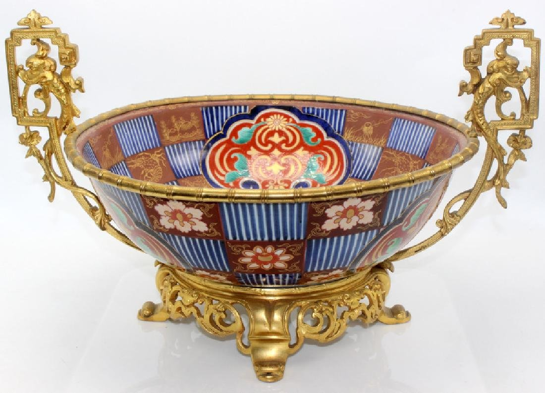 Antique 19th C. French Dore Bronze & Imari Porcelain