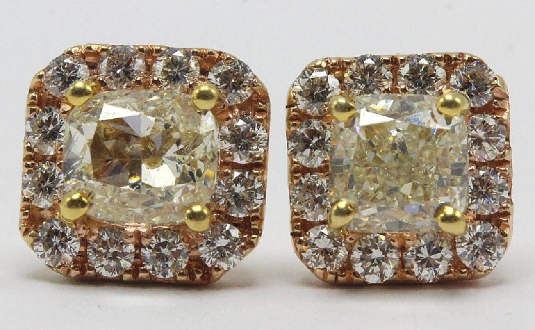 18Kt YG, RG & 2.65ct. Diamond Earrings