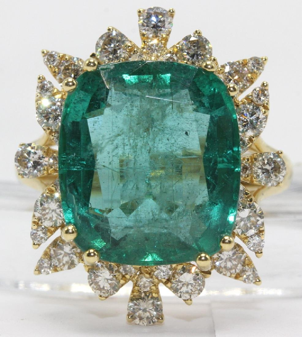 18Kt YG, 1.25ct. Diamond & 8.24ct. Emerald Ring