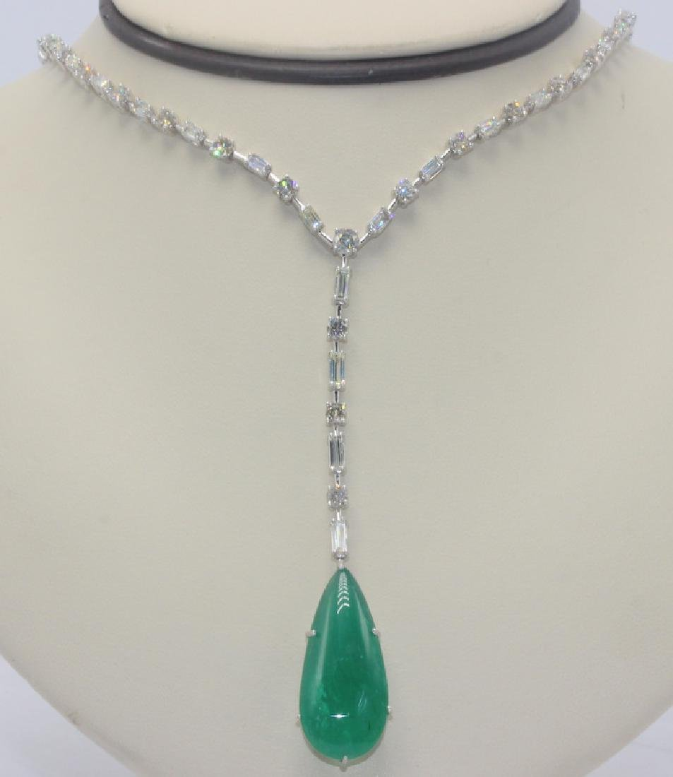 18Kt WG, 10.75ct. Diamond & 28.44ct. Cabochon Emerald