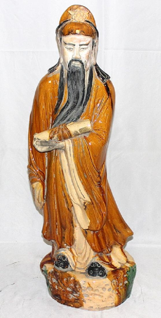 Chinese Glazed Terracotta Figure of a Scholar