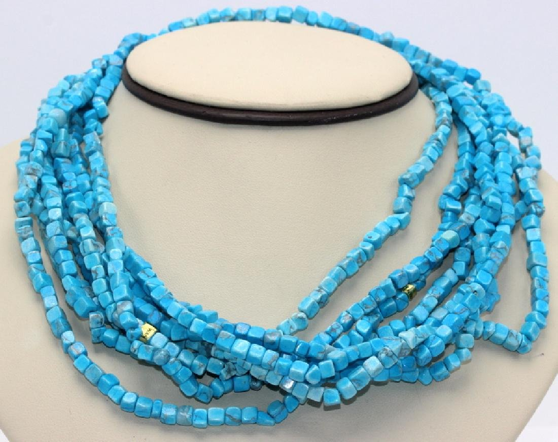 (4) Turquoise Square Block Necklaces