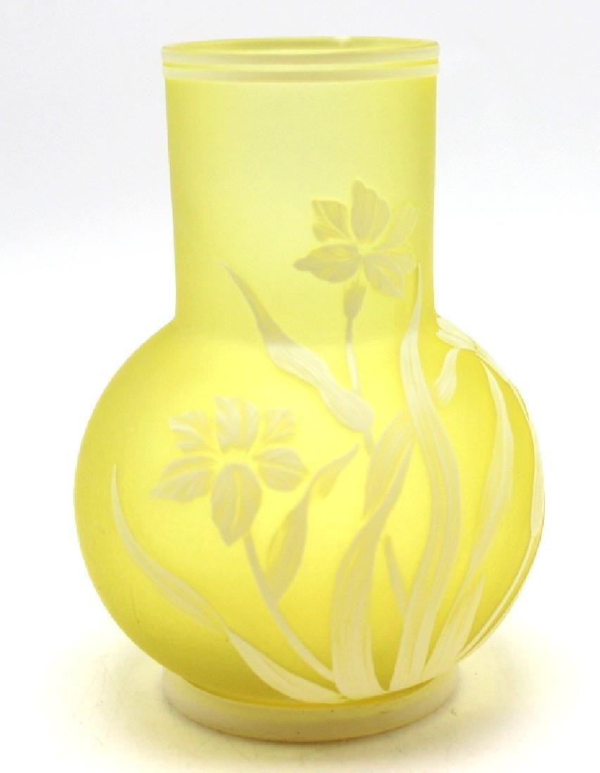 Thomas Webb Yellow Art Glass Vase