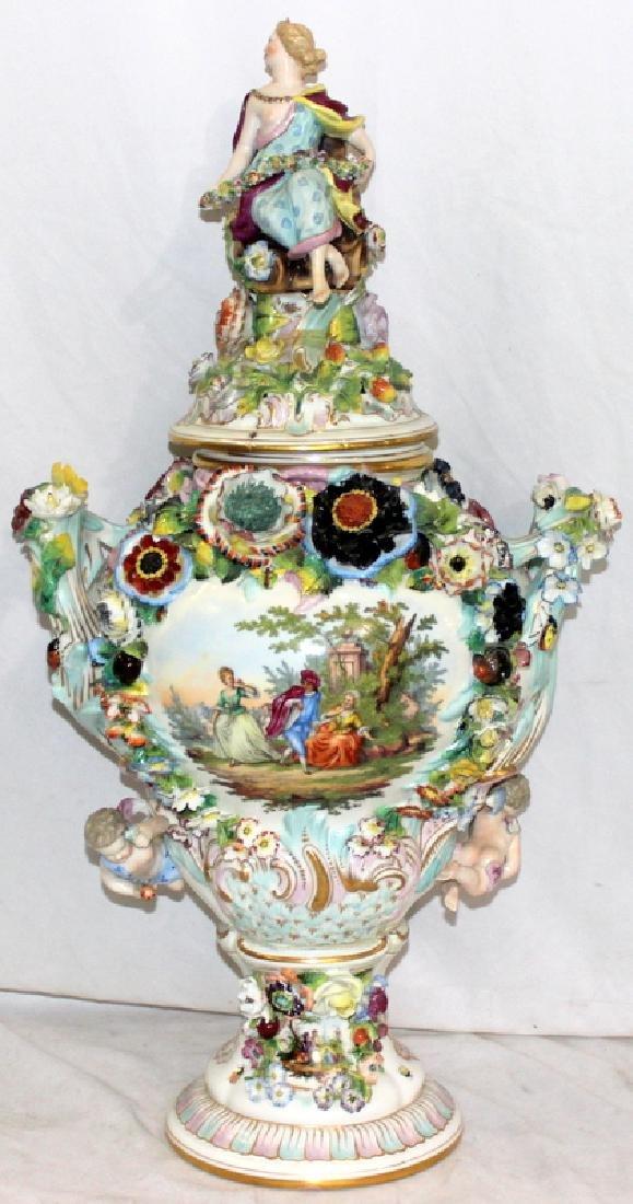 Antique German Schierholz Porcelain Covered Vase