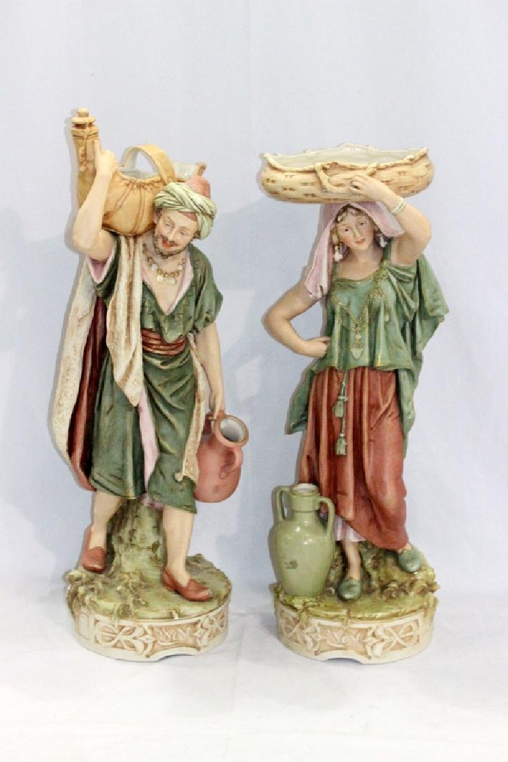 Rare Large Pair of Royal Dux Water Carrier Figurines