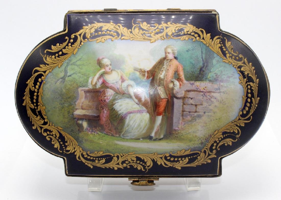 Antique French Sevres Porcelain Covered Box