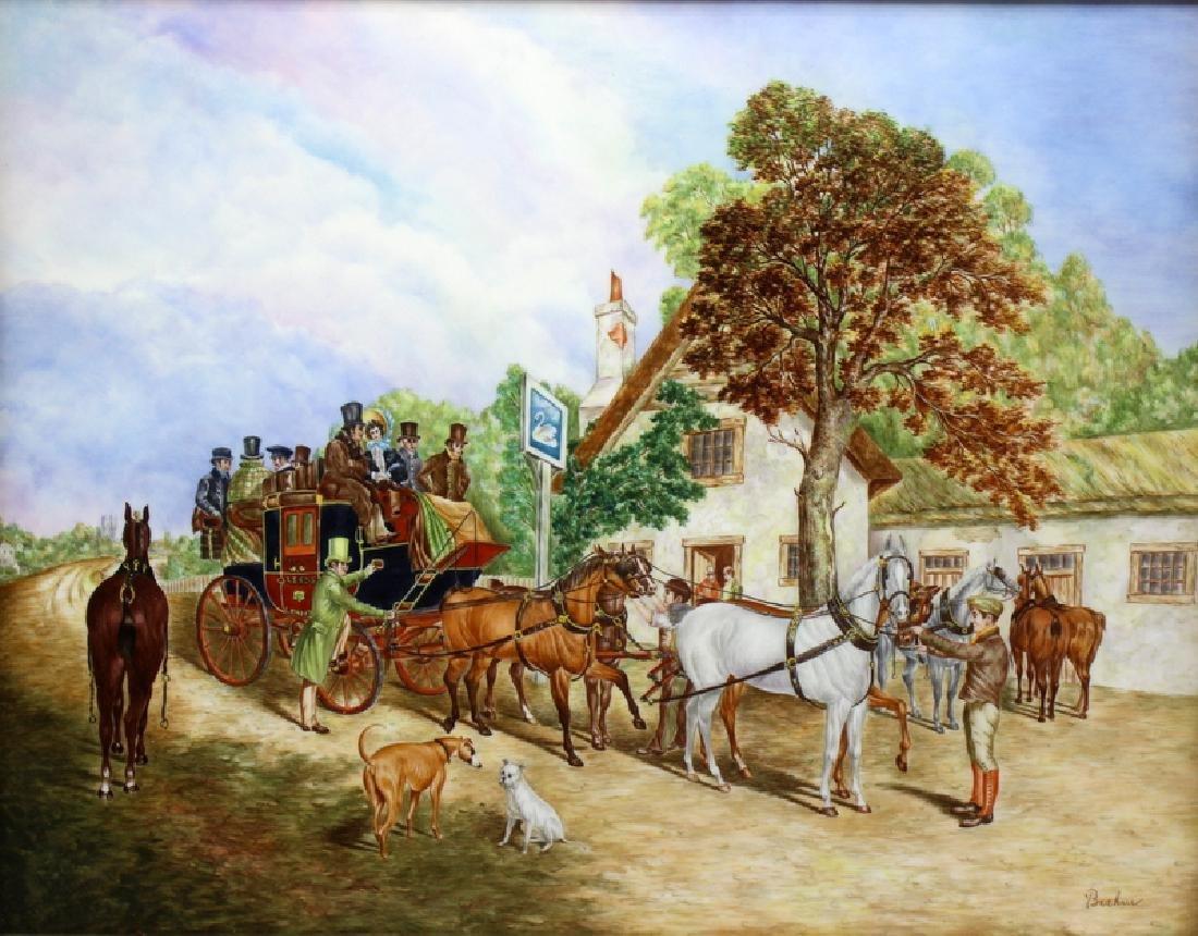 Boehm L.E Coach & Horse Porcelain Plaque