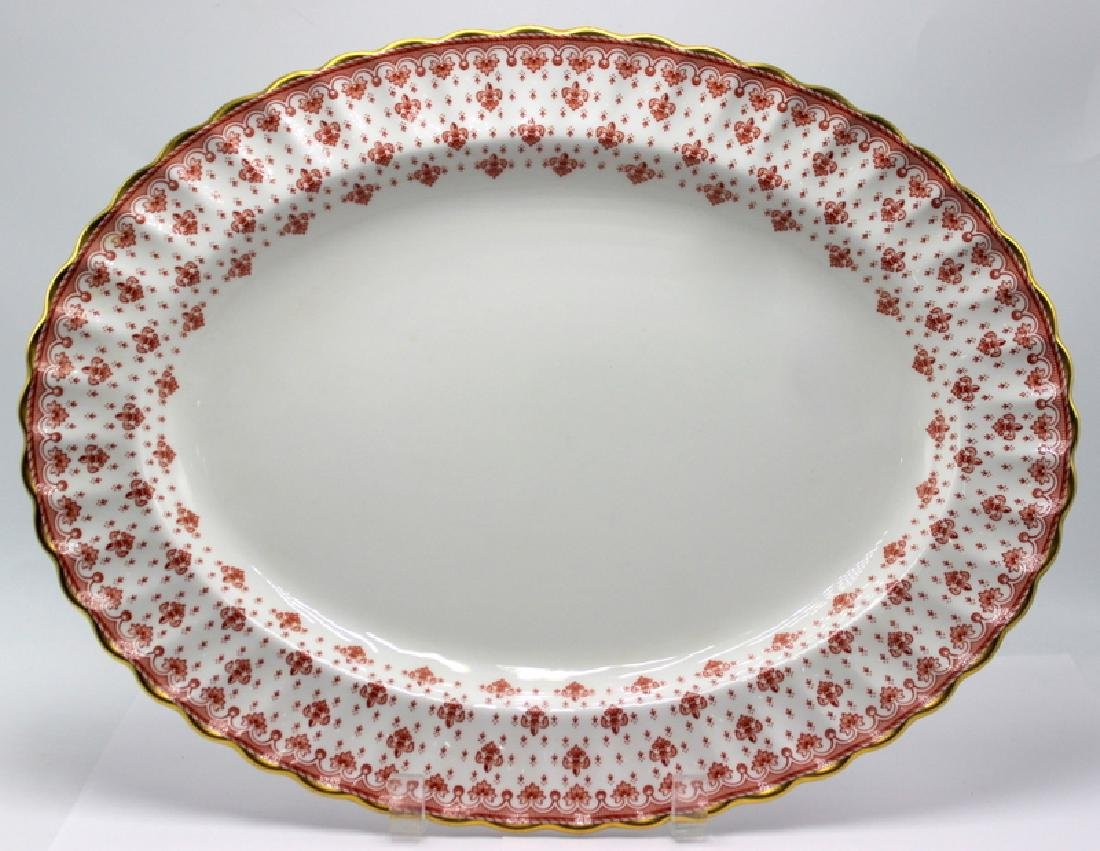Spode Fleur-de Lys Red Bone China Oval Serving Plate