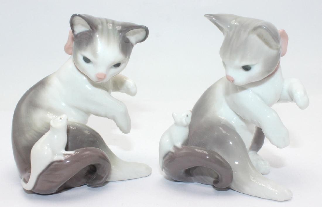 Pair of Lladro Cat and Mouse Figurines