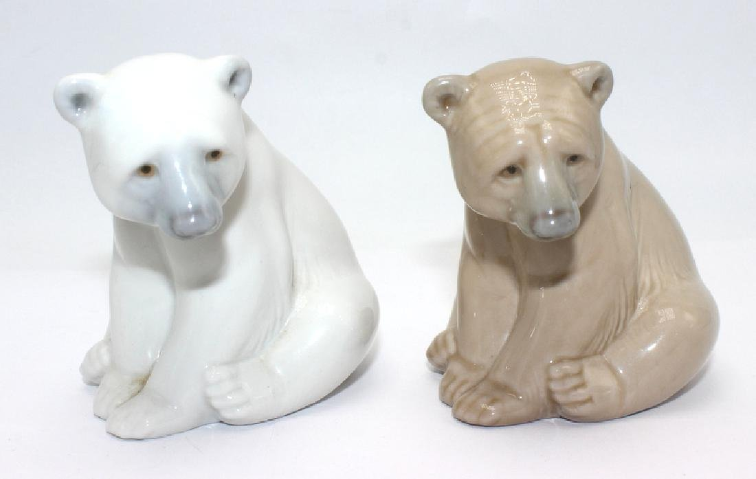 Pair of Lladro Porcelain Seated Bears Figure